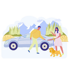 Man inviting woman with dog to sit in automobile vector