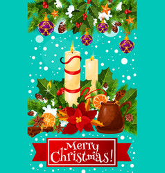 Merry christmas candle wreath greeting card vector