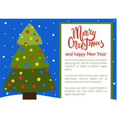 merry christmas happy new year poster tree icon vector image