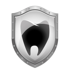 Metallic shield with tooth shading vector