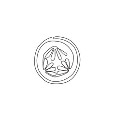 one continuous line drawing round sliced healthy vector image
