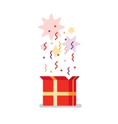 Opened gift box surprise concept vector