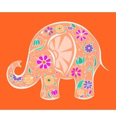 Orange elephant painted by flowers vector image