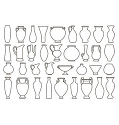 outline vases and amphora collection vector image