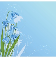 Pastel background with blue snowdrop vector