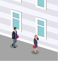 People walking on street road vector