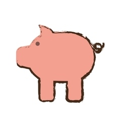 piggy bank money cash safety sketch vector image
