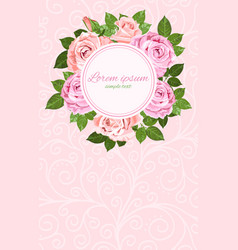 pink and beige roses wreath round frame vector image