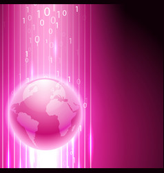 pink background with binary code to the globe vector image