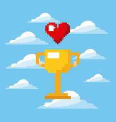 Pixel game trophy and heart life prize play vector