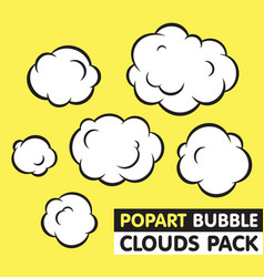 Pop art bubble clouds pack vector image