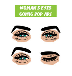 Pop art cartoon comic smile wink woman eyes vector