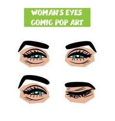 pop art cartoon comic smile wink woman eyes vector image