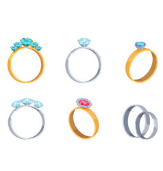 Precious wedding rings with gems icons set vector