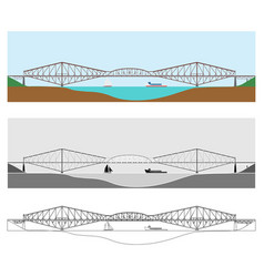 Quebec bridge colored and outline only vector