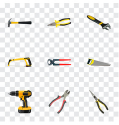 realistic wrench hacksaw pliers and other vector image