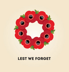 red poppies wreath on cream remembrance day vector image