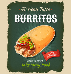 Retro fast food mexican burritos poster vector