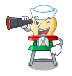 Sailor with binocular cartoon baby sitting in the vector