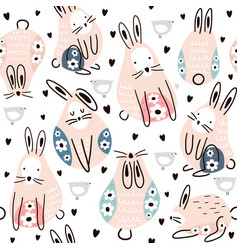 seamless childish pattern cute rabbits with floral vector image
