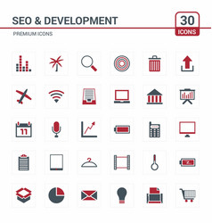 Seo and developement icons red vector