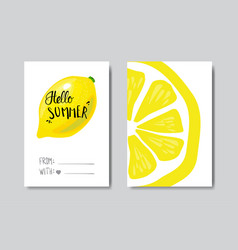 set hello summer lemon badge isolated typographic vector image