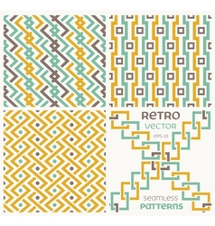 Set of seamless textures in retro style vector image