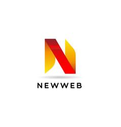 simple initial letter n ribbon logo sign symbol vector image