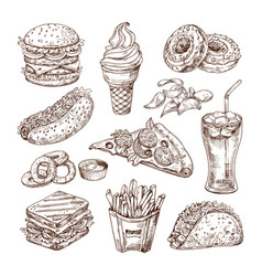 sketch fast food burger hot dog sandwich snacks vector image