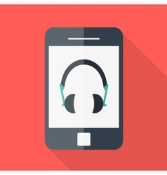 smartphone flat design headphones icon vector image