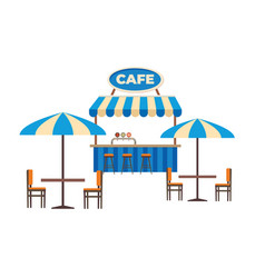 Street cafe or outdoor restaurant flat vector