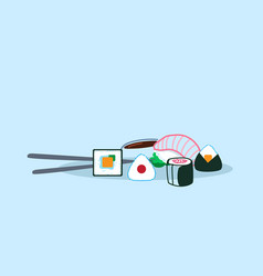 sushi set served with soy sauce wasabi and vector image