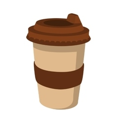 Takeaway coffee cup cartoon icon vector