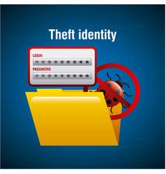 theft identity folder file document access virus vector image