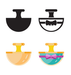 Toilet water in perfume bottle flat icons vector