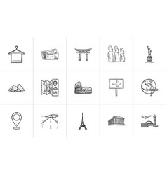 travel landmarks hand drawn outline doodle icon vector image
