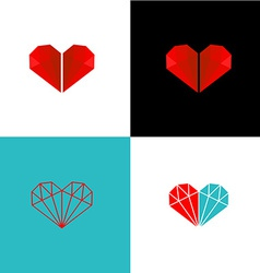 Two diamonds heart logo vector