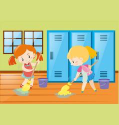 Two girls mopping locker room vector