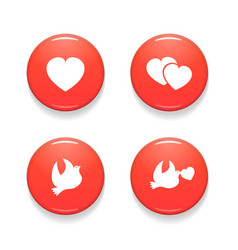 valentines day set of badges isolated on vector image