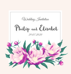 vintage wedding invitation template with peonies vector image