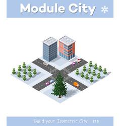 winter christmas urban quarter modules vector image