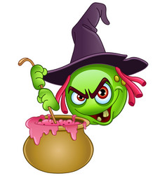 witch emoticon with cauldron vector image