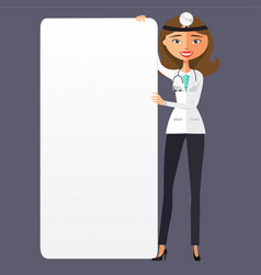 Woman doctor with a blank presentation flat vector
