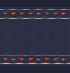Wool knitted pattern with red hearts on blu vector