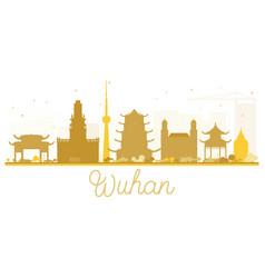 Wuhan city skyline golden silhouette vector