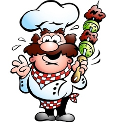 Chef with a kebab skewer vector image vector image