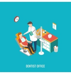 Dentist office during reception patient vector image