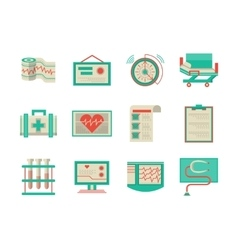 Flat design icons for cardiology vector image