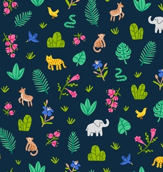 Jungle wildlife pattern vector image