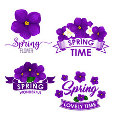 spring flower bouquet isolated symbol set vector image vector image